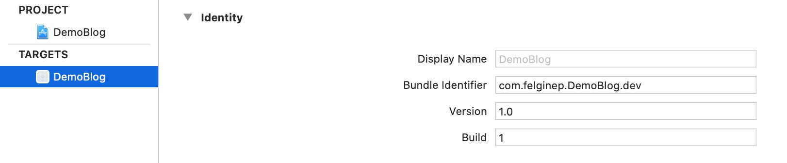 Bundle identifier for development
